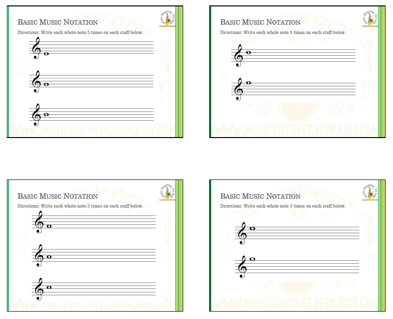Learning Music Notation of Treble Clef - Interactive Whiteboard