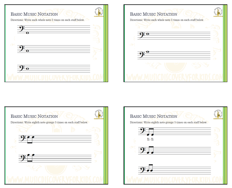 Learning Music Notation of Bass Clef - Interactive Whiteboard