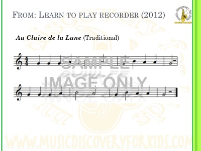 Au Claire de la Lune - song from Learn to Play Recorder Songbook - Interactive Whiteboard
