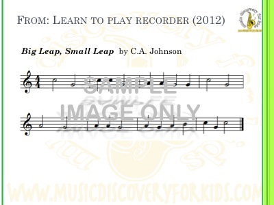Big Leap Small Leap - song from Learn to Play Recorder Songbook - Interactive Whiteboard