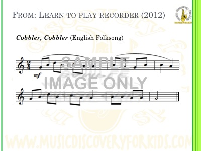 Cobbler Cobbler - song from Learn to Play Recorder Songbook - Interactive Whiteboard