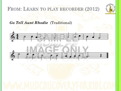 Go Tell Aunt Rhodie - song from Learn to Play Recorder Songbook - Interactive Whiteboard