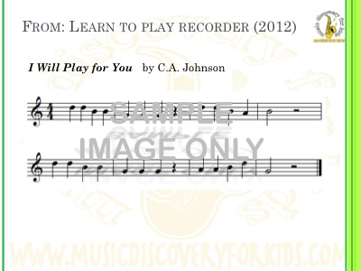 I Will Play For You - song from Learn to Play Recorder Songbook - Interactive Whiteboard