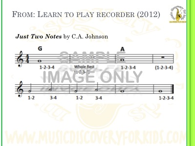 Just Two Notes - song from Learn to Play Recorder Songbook - Interactive Whiteboard