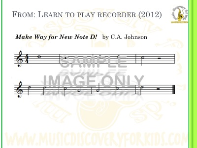 Make Way for New Notes - song from Learn to Play Recorder Songbook - Interactive Whiteboard