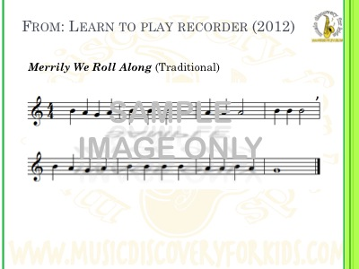 Merrily We Roll Along - song from Learn to Play Recorder Songbook - Interactive Whiteboard