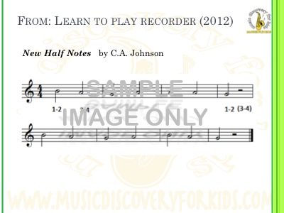 New Half Notes - song from Learn to Play Recorder Songbook - Interactive Whiteboard