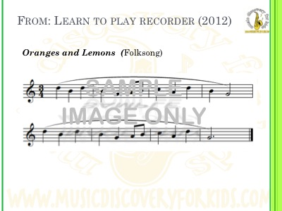 Oranges And Lemons - song from Learn to Play Recorder Songbook - Interactive Whiteboard