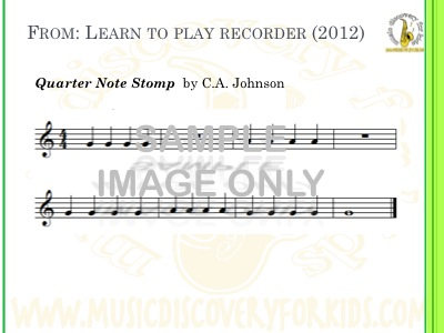 Quater Note Stomp - song from Learn to Play Recorder Songbook - Interactive Whiteboard