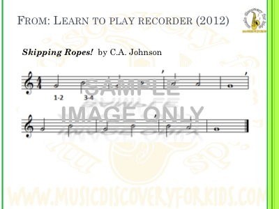 Skipping Ropes - song from Learn to Play Recorder Songbook - Interactive Whiteboard