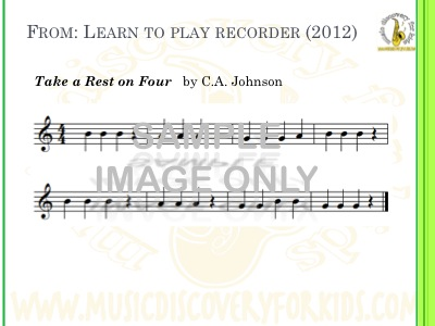 Take A Rest On Four - song from Learn to Play Recorder Songbook - Interactive Whiteboard